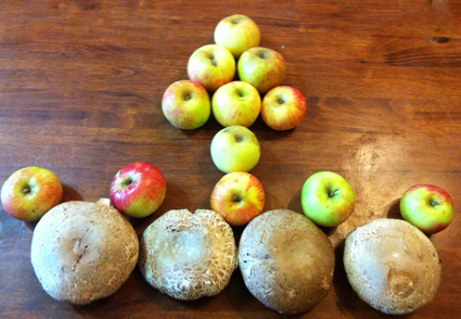 Harbingers of autumn - new season apples and giant mushrooms.