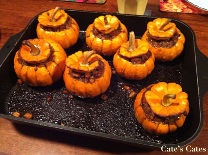 ... Pumpkins stuffed with Spiced Split Pea and Rhubarb Stew | Cate's Cates