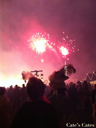 I didn't have to stand behind the hats, but I love the way they look silhouetted by the fireworks...