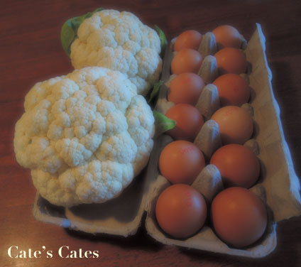 Cauliflower looks sort of ridiculous in soft focus, and I like the way the eggs almost have halos...